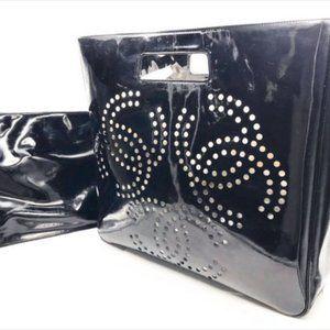 🖤 RARE🖤 Chanel CC Cutout Large Black Patent Bag